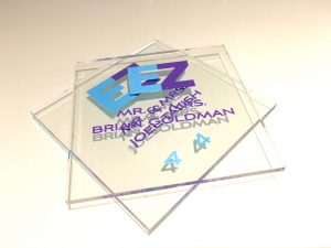 These acrylic place cards created a fun look for a B'nai Mitzvah for 2 special young ladies!